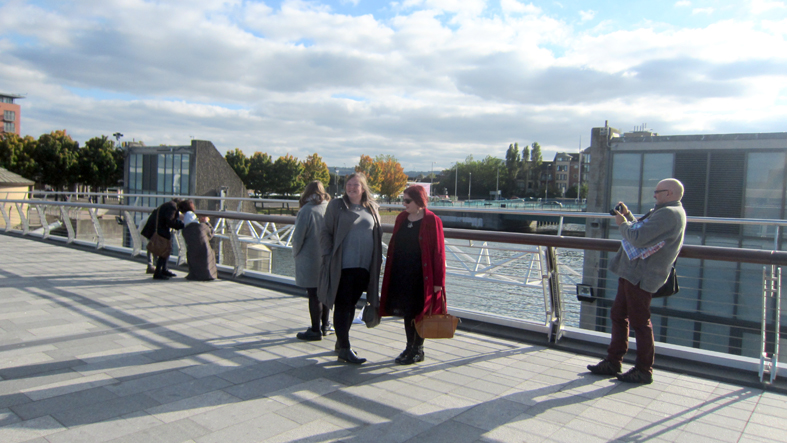 On Lagan Bridge site of Bridging the Silence with artists Deirdre Cartmill, Hrvoslava Brkusic and Beatriz Churruca Echeverría